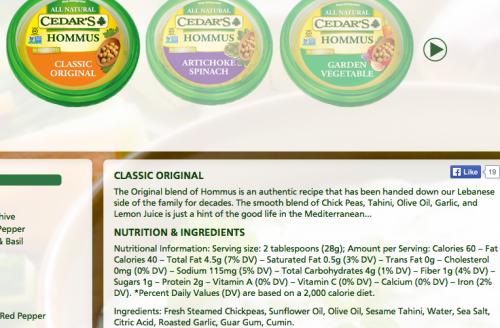 Cedar's Classic Original Hommus
