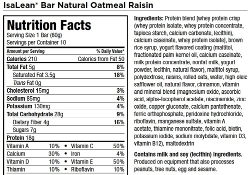 IsaLean Natural Oatmeal Raisin Bar